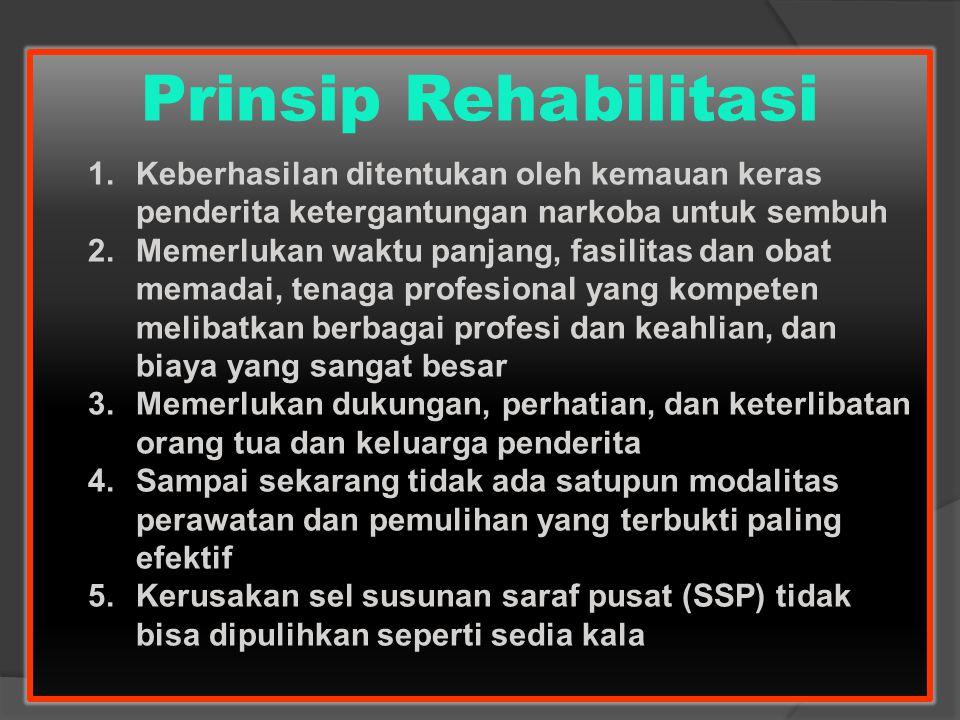 Prinsip Rehabilitasi 1.Keberhasilan ditentukan oleh kemauan keras penderita ketergantungan narkoba untuk sembuh 2.Memerlukan waktu panjang, fasilitas
