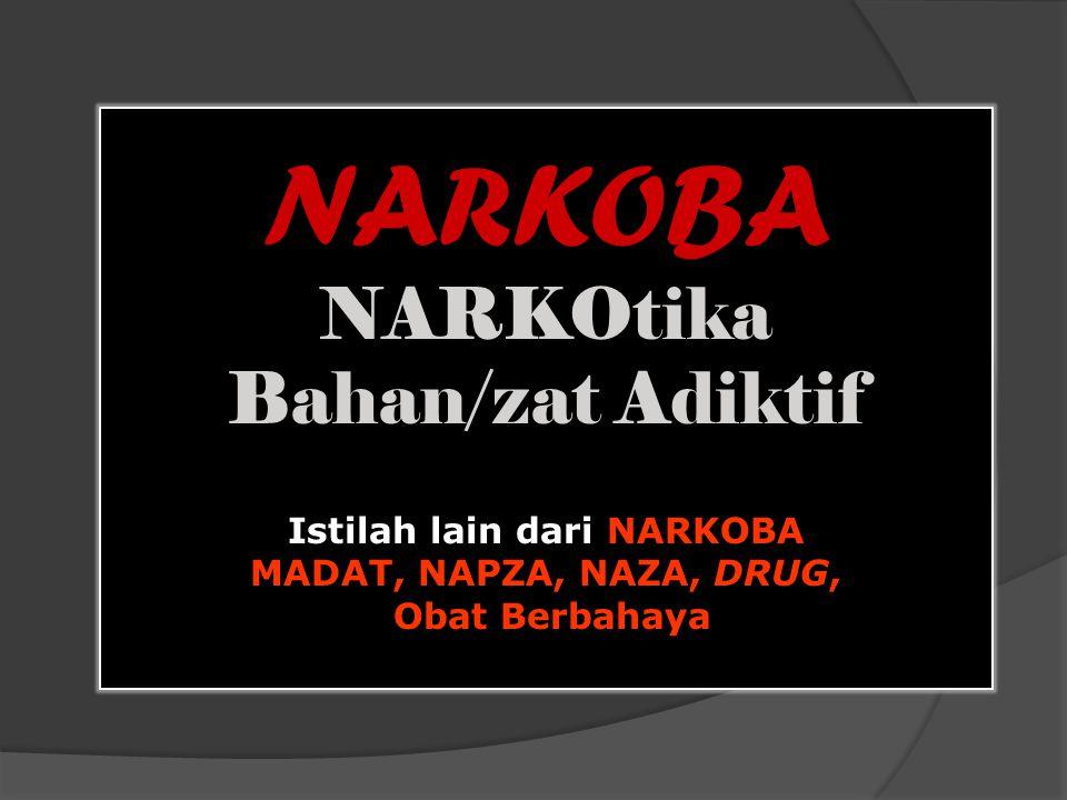 NARKOBA NARKOtika Bahan/zat Adiktif Istilah lain dari NARKOBA MADAT, NAPZA, NAZA, DRUG, Obat Berbahaya