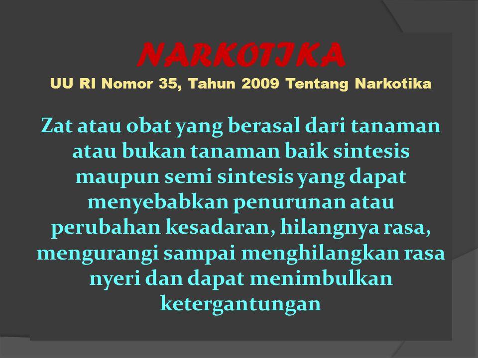 NARKOTIKA UU RI Nomor 35, Tahun 2009 Tentang Narkotika Zat atau obat yang berasal dari tanaman atau bukan tanaman baik sintesis maupun semi sintesis y