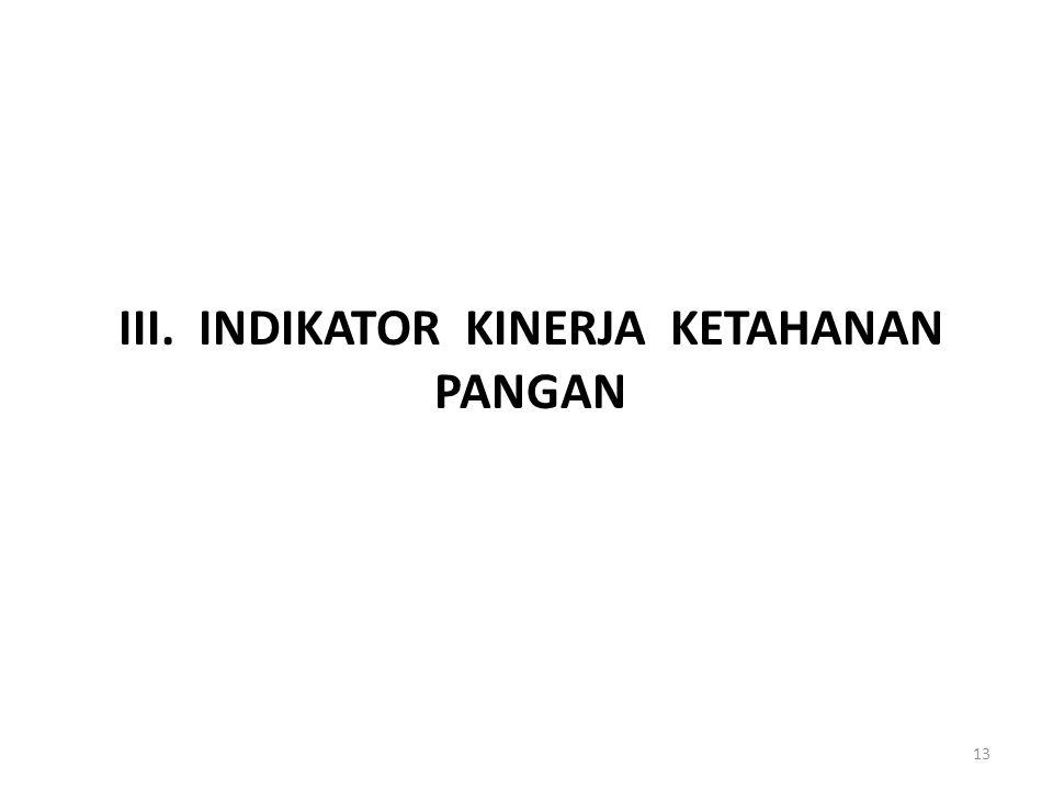 III. INDIKATOR KINERJA KETAHANAN PANGAN 13