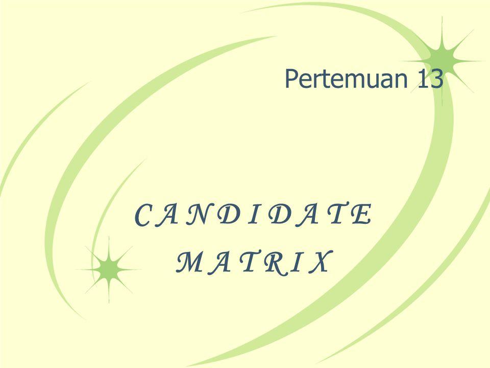 CANDIDATE MATRIX Merupakan pendokumentasian persamaan dan perbedaan antara Calon-calon sistem Bukan merupakan suatu alat untuk menganalisis suatu sistem Lebih ke arah pembandingan calon-calon sistem