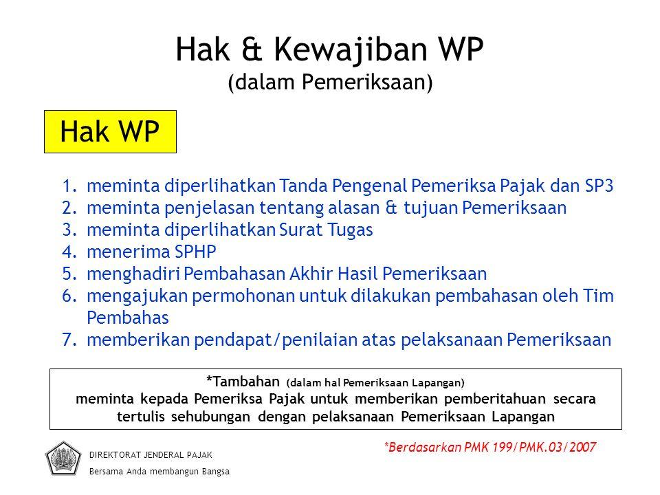 Hak & Kewajiban WP (dalam Pemeriksaan) DIREKTORAT JENDERAL PAJAK Bersama Anda membangun Bangsa *Berdasarkan PMK 199/PMK.03/2007 1.meminta diperlihatka