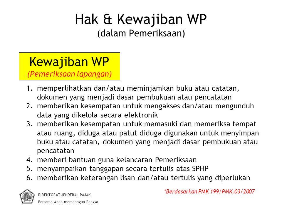Hak & Kewajiban WP (dalam Pemeriksaan) DIREKTORAT JENDERAL PAJAK Bersama Anda membangun Bangsa *Berdasarkan PMK 199/PMK.03/2007 1.memperlihatkan dan/a