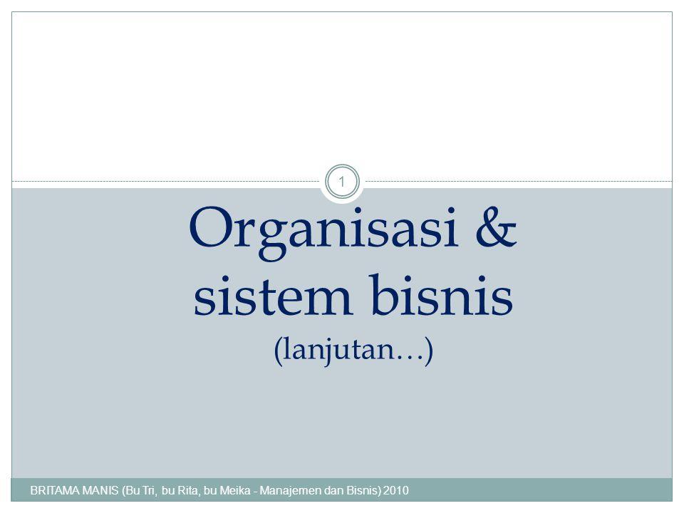 Organisasi & sistem bisnis (lanjutan…) BRITAMA MANIS (Bu Tri, bu Rita, bu Meika - Manajemen dan Bisnis) 2010 1