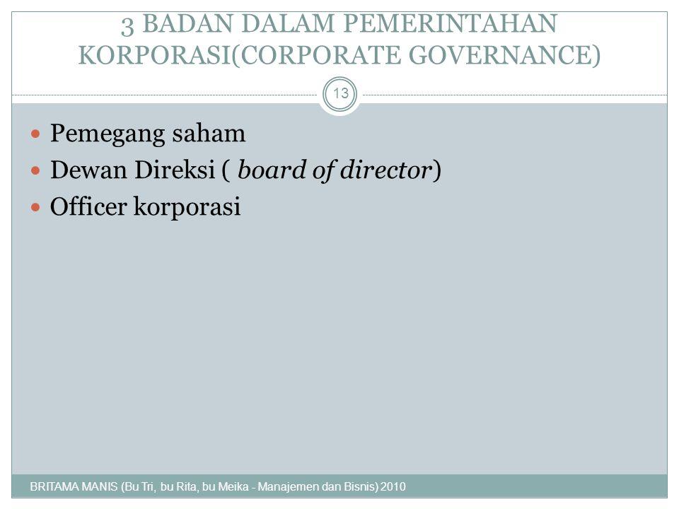 3 BADAN DALAM PEMERINTAHAN KORPORASI(CORPORATE GOVERNANCE) Pemegang saham Dewan Direksi ( board of director) Officer korporasi 13 BRITAMA MANIS (Bu Tr
