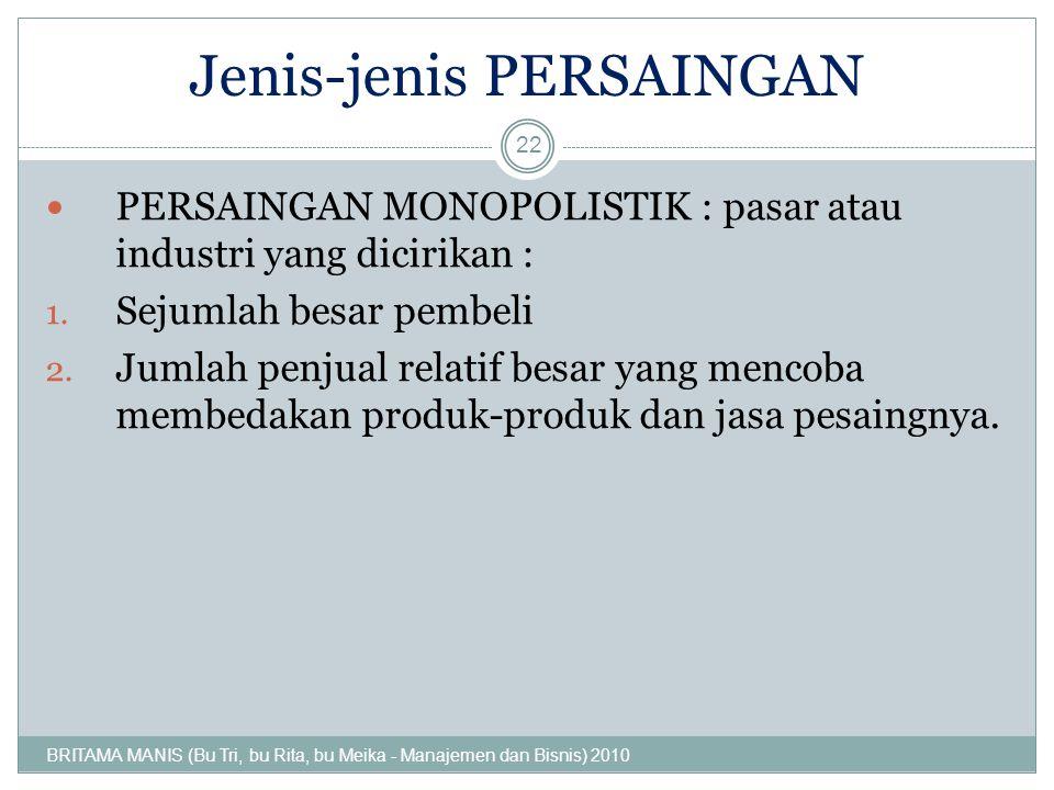 Jenis-jenis PERSAINGAN PERSAINGAN MONOPOLISTIK : pasar atau industri yang dicirikan : 1. Sejumlah besar pembeli 2. Jumlah penjual relatif besar yang m