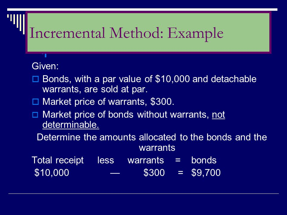 Given:  Bonds, with a par value of $10,000 and detachable warrants, are sold at par.