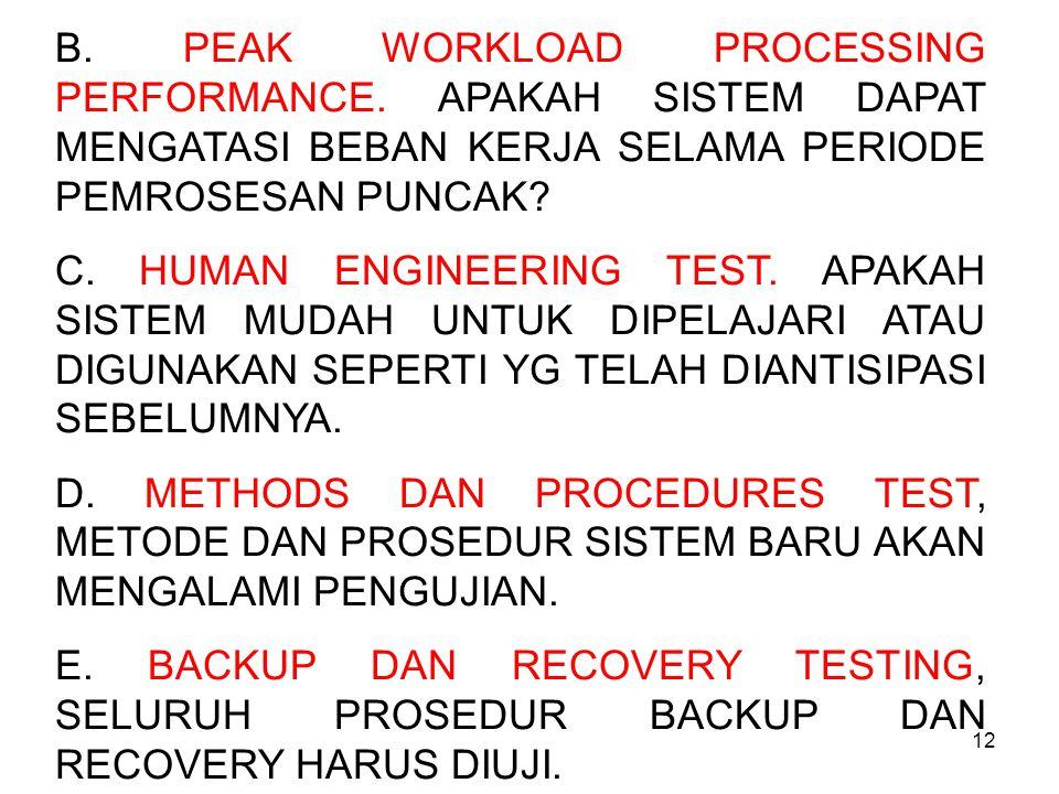 12 B. PEAK WORKLOAD PROCESSING PERFORMANCE. APAKAH SISTEM DAPAT MENGATASI BEBAN KERJA SELAMA PERIODE PEMROSESAN PUNCAK? C. HUMAN ENGINEERING TEST. APA
