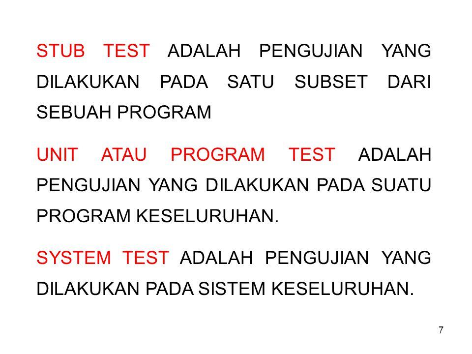 7 STUB TEST ADALAH PENGUJIAN YANG DILAKUKAN PADA SATU SUBSET DARI SEBUAH PROGRAM UNIT ATAU PROGRAM TEST ADALAH PENGUJIAN YANG DILAKUKAN PADA SUATU PROGRAM KESELURUHAN.