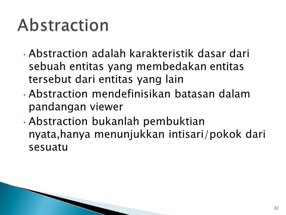 Abstraction adalah karakteristik dasar dari sebuah entitas yang membedakan entitas tersebut dari entitas yang lain Abstraction mendefinisikan batasan dalam pandangan viewer Abstraction bukanlah pembuktian nyata,hanya menunjukkan intisari/pokok dari sesuatu 22