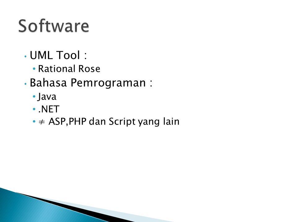UML Tool : Rational Rose Bahasa Pemrograman : Java.NET ≠ ASP,PHP dan Script yang lain