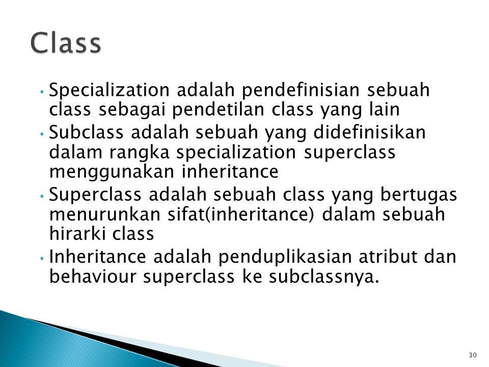 Specialization adalah pendefinisian sebuah class sebagai pendetilan class yang lain Subclass adalah sebuah yang didefinisikan dalam rangka specialization superclass menggunakan inheritance Superclass adalah sebuah class yang bertugas menurunkan sifat(inheritance) dalam sebuah hirarki class Inheritance adalah penduplikasian atribut dan behaviour superclass ke subclassnya.
