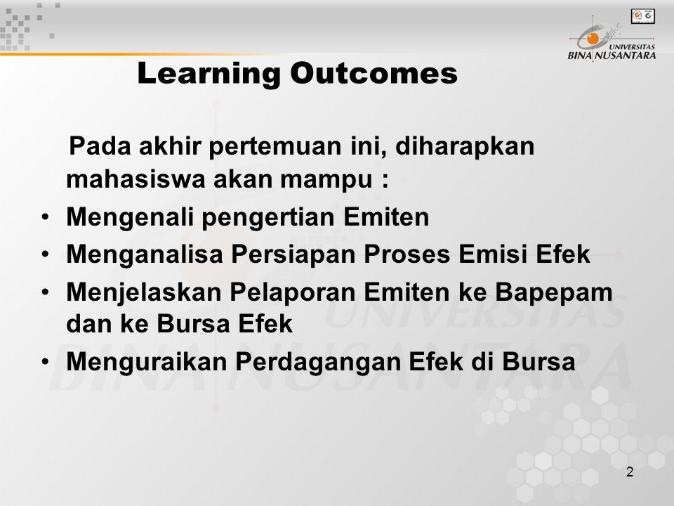 2 Learning Outcomes Pada akhir pertemuan ini, diharapkan mahasiswa akan mampu : Mengenali pengertian Emiten Menganalisa Persiapan Proses Emisi Efek Me