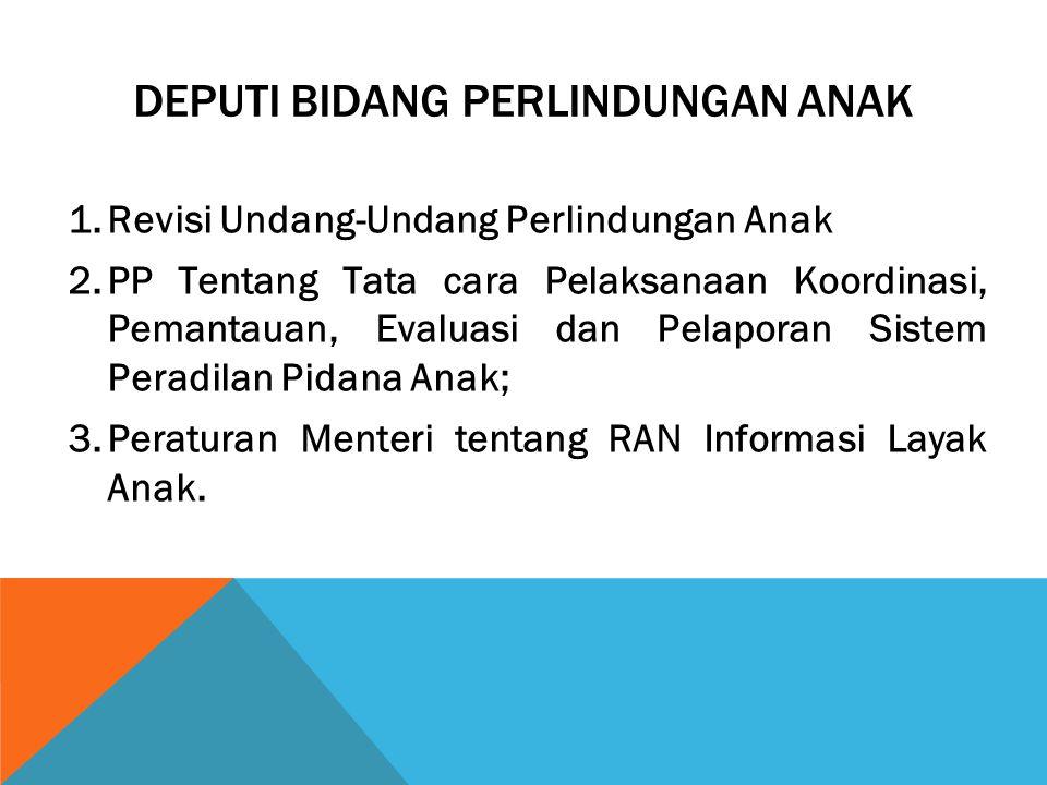 DEPUTI BIDANG PERLINDUNGAN ANAK 1.Revisi Undang-Undang Perlindungan Anak 2.PP Tentang Tata cara Pelaksanaan Koordinasi, Pemantauan, Evaluasi dan Pelap