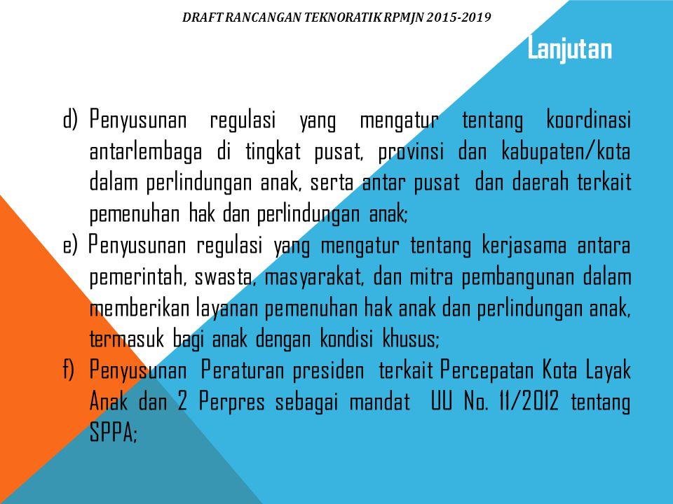 d)Penyusunan regulasi yang mengatur tentang koordinasi antarlembaga di tingkat pusat, provinsi dan kabupaten/kota dalam perlindungan anak, serta antar