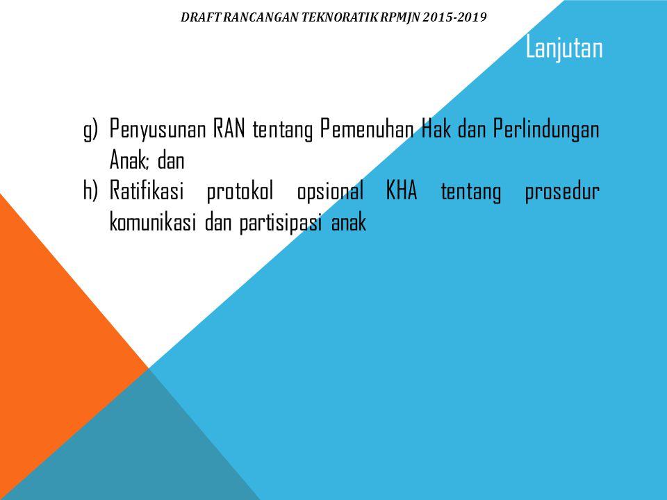 g) Penyusunan RAN tentang Pemenuhan Hak dan Perlindungan Anak; dan h)Ratifikasi protokol opsional KHA tentang prosedur komunikasi dan partisipasi anak