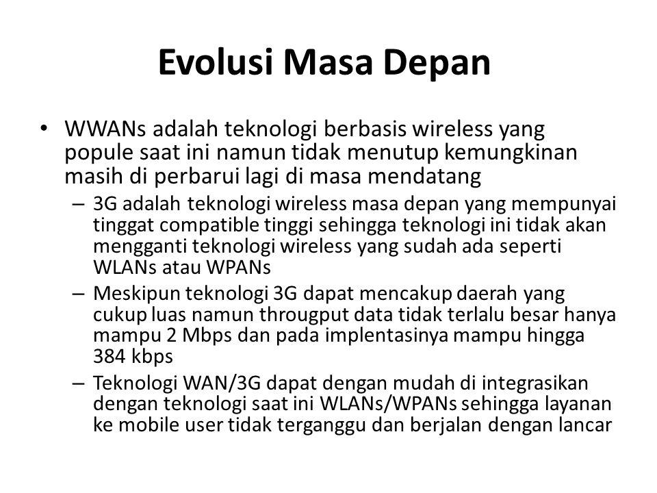 Evolusi Masa Depan WWANs adalah teknologi berbasis wireless yang popule saat ini namun tidak menutup kemungkinan masih di perbarui lagi di masa mendatang – 3G adalah teknologi wireless masa depan yang mempunyai tinggat compatible tinggi sehingga teknologi ini tidak akan mengganti teknologi wireless yang sudah ada seperti WLANs atau WPANs – Meskipun teknologi 3G dapat mencakup daerah yang cukup luas namun througput data tidak terlalu besar hanya mampu 2 Mbps dan pada implentasinya mampu hingga 384 kbps – Teknologi WAN/3G dapat dengan mudah di integrasikan dengan teknologi saat ini WLANs/WPANs sehingga layanan ke mobile user tidak terganggu dan berjalan dengan lancar