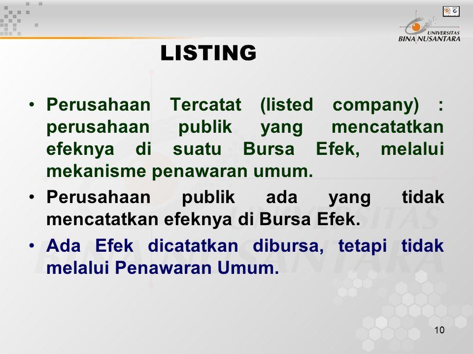 10 LISTING Perusahaan Tercatat (listed company) : perusahaan publik yang mencatatkan efeknya di suatu Bursa Efek, melalui mekanisme penawaran umum. Pe