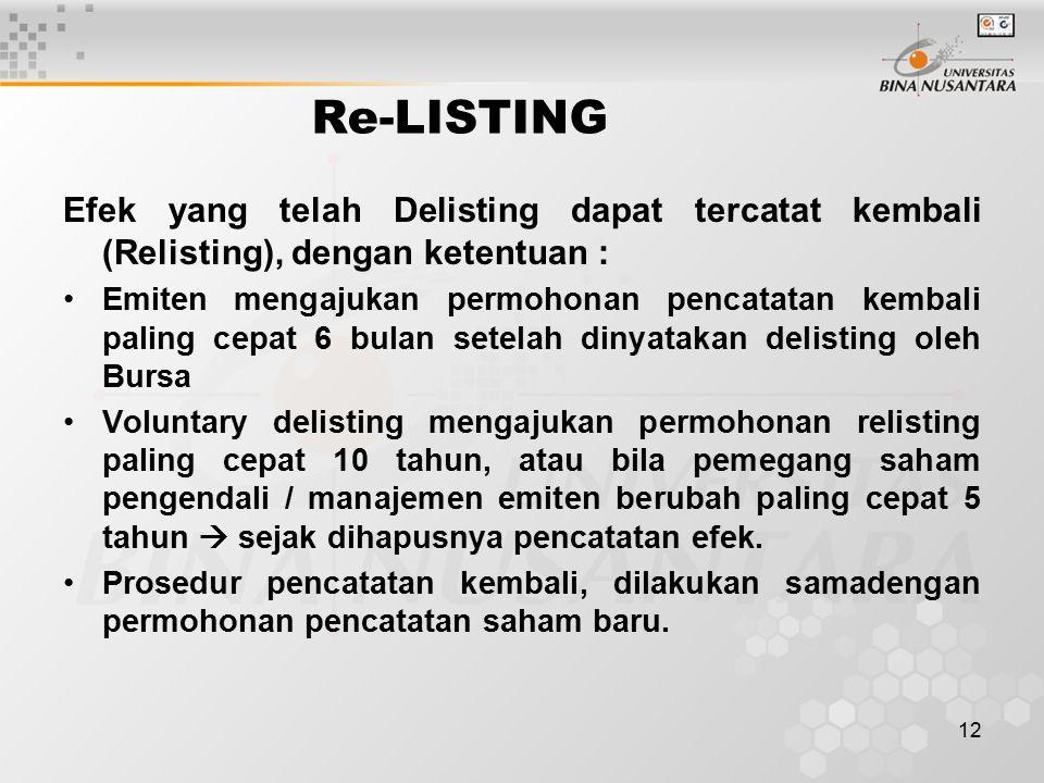 12 Re-LISTING Efek yang telah Delisting dapat tercatat kembali (Relisting), dengan ketentuan : Emiten mengajukan permohonan pencatatan kembali paling