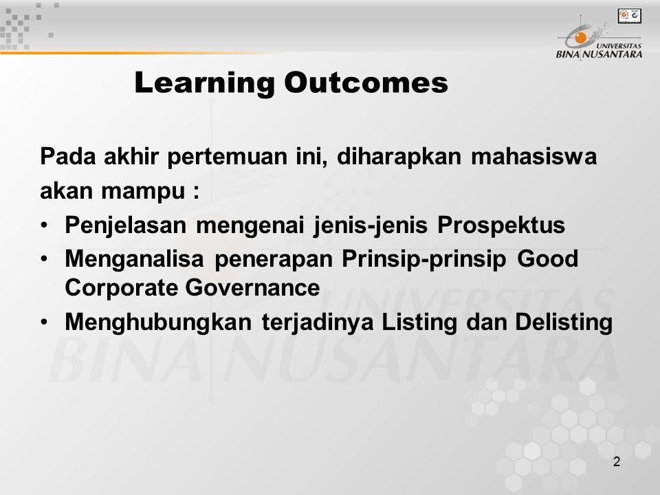 2 Learning Outcomes Pada akhir pertemuan ini, diharapkan mahasiswa akan mampu : Penjelasan mengenai jenis-jenis Prospektus Menganalisa penerapan Prinsip-prinsip Good Corporate Governance Menghubungkan terjadinya Listing dan Delisting