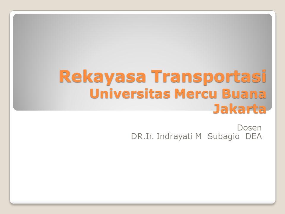 Rekayasa Transportasi Universitas Mercu Buana Jakarta Dosen DR.Ir. Indrayati M Subagio DEA