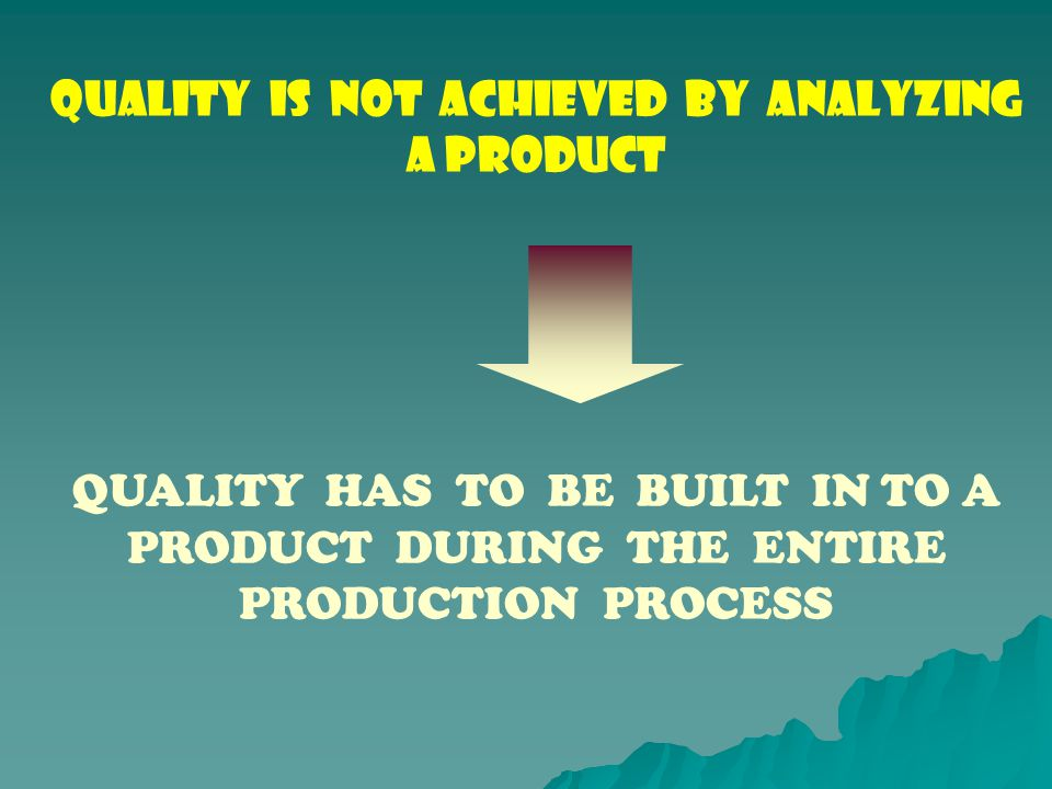 QUALITY IS NOT ACHIEVED BY ANALYZING A PRODUCT QUALITY HAS TO BE BUILT IN TO A PRODUCT DURING THE ENTIRE PRODUCTION PROCESS