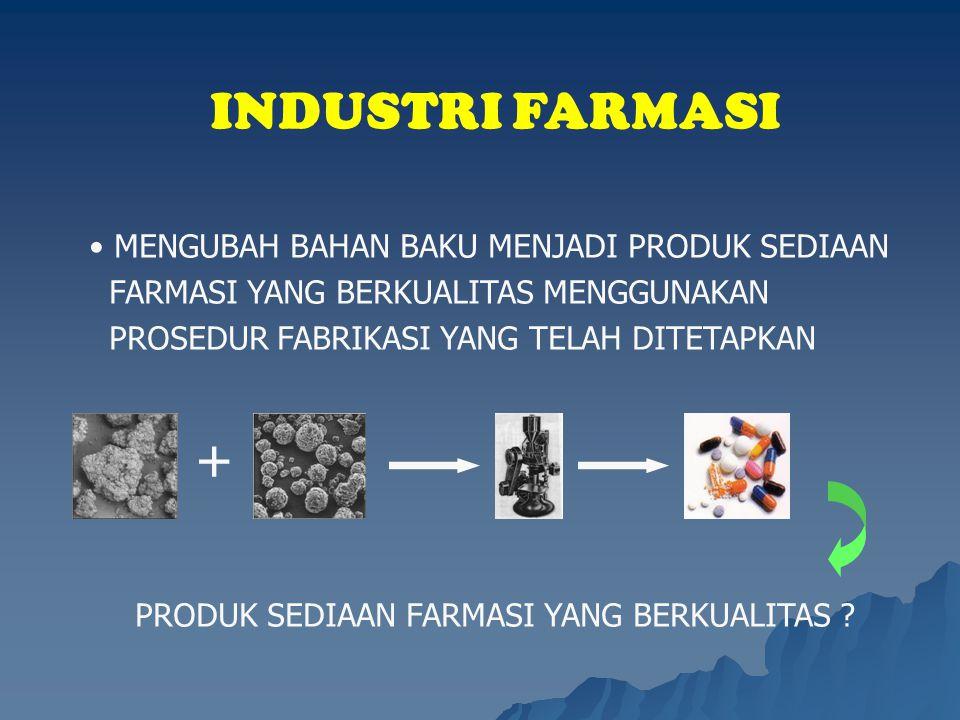 INDUSTRI FARMASI MENGUBAH BAHAN BAKU MENJADI PRODUK SEDIAAN FARMASI YANG BERKUALITAS MENGGUNAKAN PROSEDUR FABRIKASI YANG TELAH DITETAPKAN PRODUK SEDIA