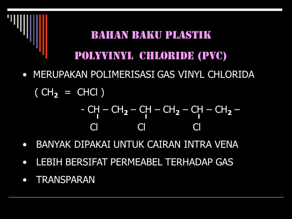 BAHAN BAKU PLASTIK POLYVINYL CHLORIDE (PVC) MERUPAKAN POLIMERISASI GAS VINYL CHLORIDA ( CH 2 = CHCl ) - CH – CH 2 – CH – CH 2 – CH – CH 2 – Cl Cl Cl B