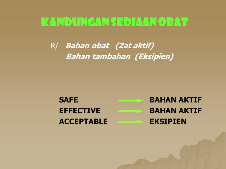 KANDUNGAN SEDIAAN OBAT R/ Bahan obat (Zat aktif) Bahan tambahan (Eksipien) SAFE BAHAN AKTIF EFFECTIVEBAHAN AKTIF ACCEPTABLEEKSIPIEN