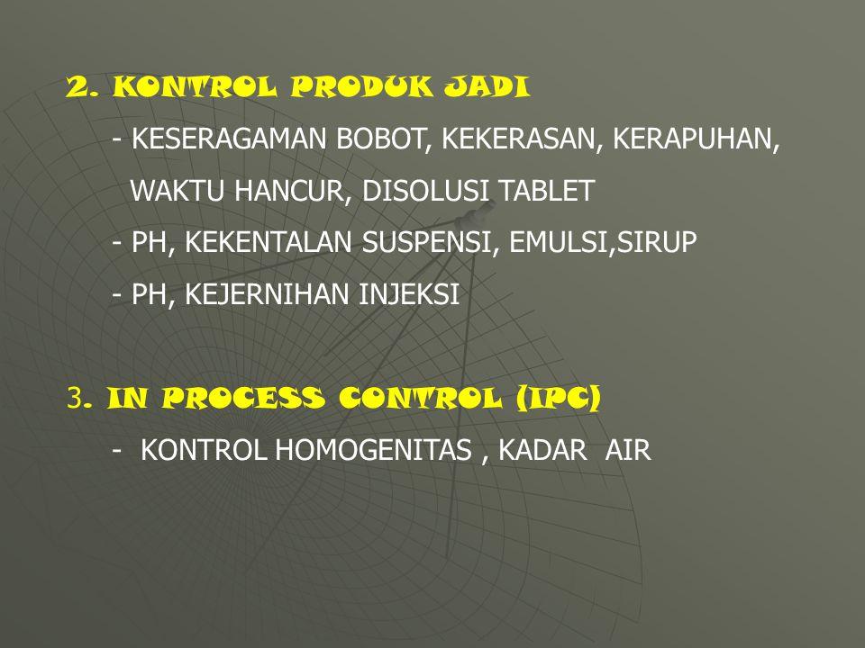 2. KONTROL PRODUK JADI - KESERAGAMAN BOBOT, KEKERASAN, KERAPUHAN, WAKTU HANCUR, DISOLUSI TABLET - PH, KEKENTALAN SUSPENSI, EMULSI,SIRUP - PH, KEJERNIH