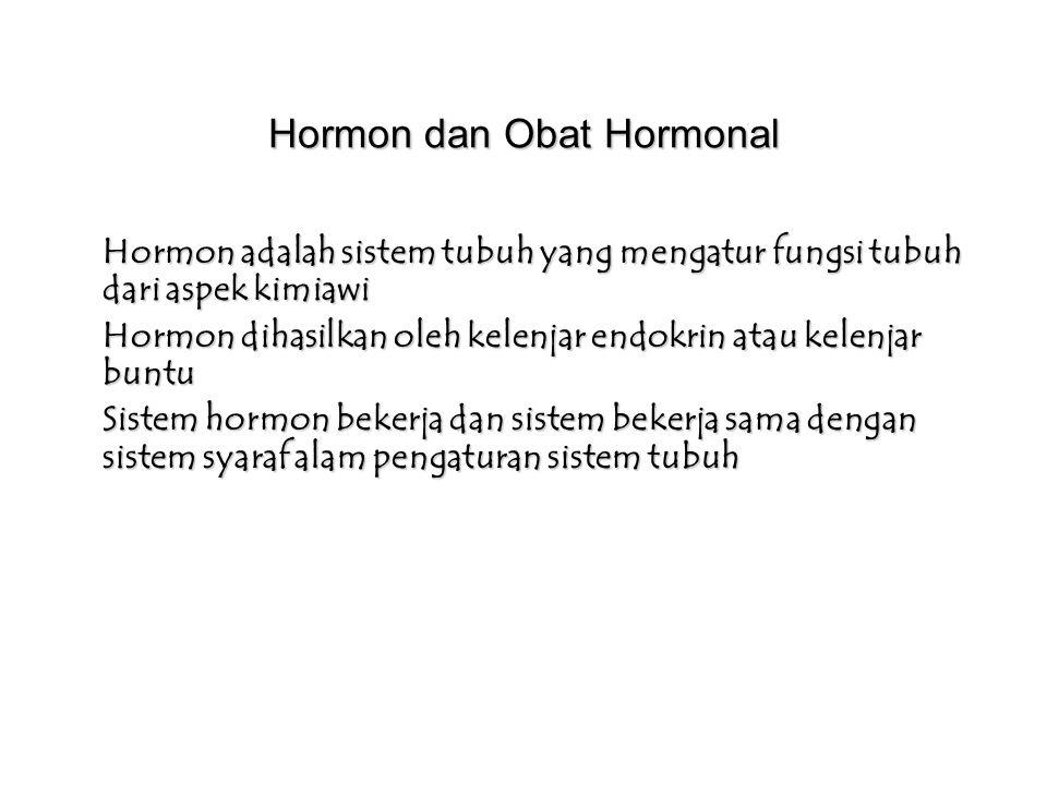 Hormon dan Obat Hormonal Hormon adalah sistem tubuh yang mengatur fungsi tubuh dari aspek kimiawi Hormon dihasilkan oleh kelenjar endokrin atau kelenjar buntu Sistem hormon bekerja dan sistem bekerja sama dengan sistem syaraf alam pengaturan sistem tubuh