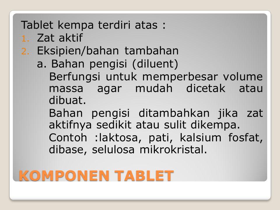 KOMPONEN TABLET Tablet kempa terdiri atas : 1. Zat aktif 2. Eksipien/bahan tambahan a. Bahan pengisi (diluent) Berfungsi untuk memperbesar volume mass