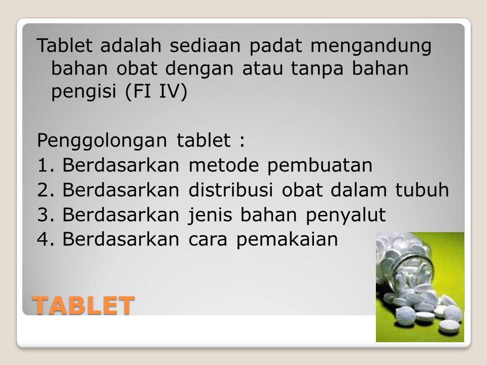 TABLET Tablet adalah sediaan padat mengandung bahan obat dengan atau tanpa bahan pengisi (FI IV) Penggolongan tablet : 1.