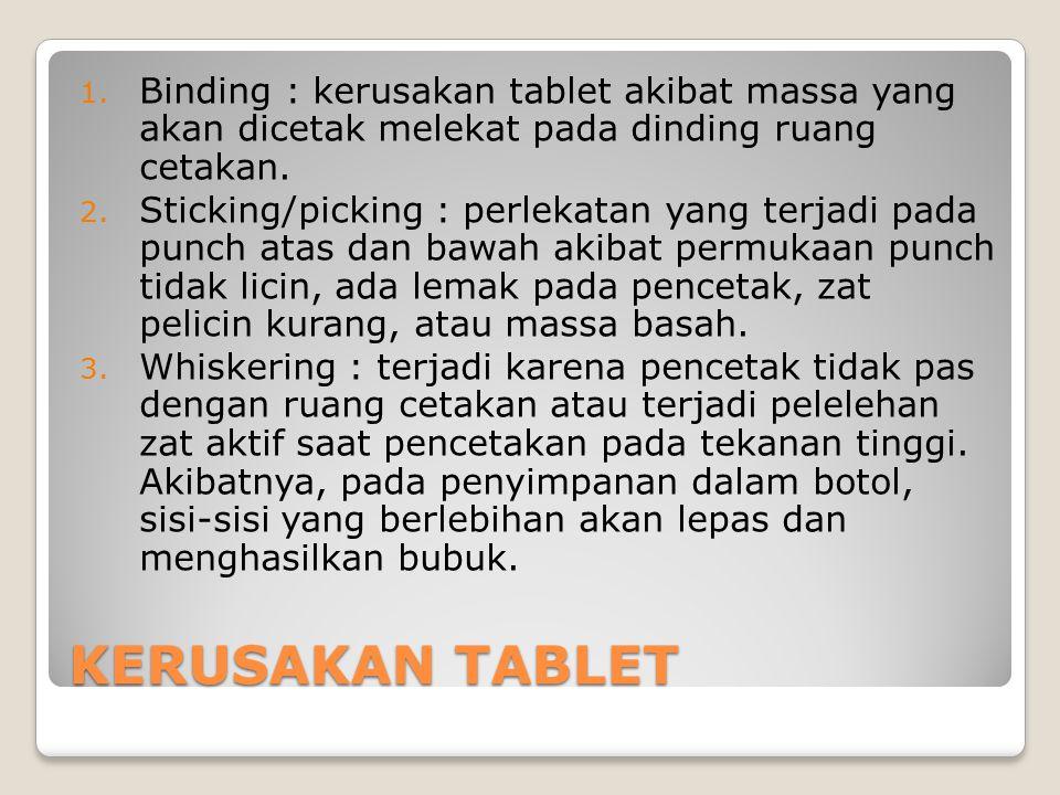 KERUSAKAN TABLET 1. Binding : kerusakan tablet akibat massa yang akan dicetak melekat pada dinding ruang cetakan. 2. Sticking/picking : perlekatan yan