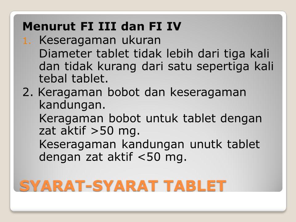 SYARAT-SYARAT TABLET Menurut FI III dan FI IV 1. Keseragaman ukuran Diameter tablet tidak lebih dari tiga kali dan tidak kurang dari satu sepertiga ka