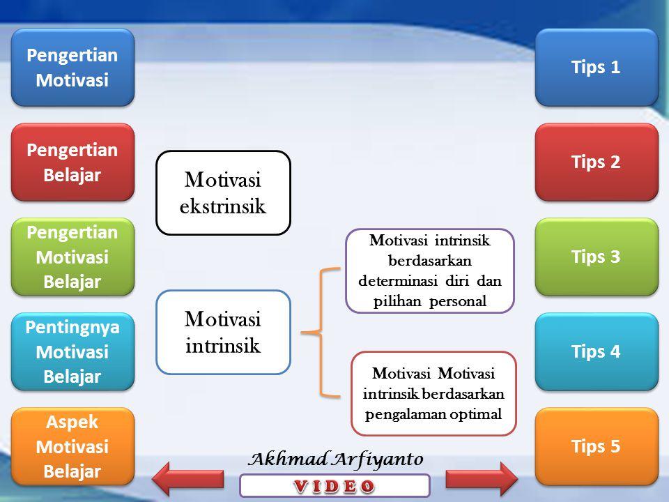Pengertian Motivasi Pengertian Motivasi Pengertian Belajar Pengertian Belajar Pengertian Motivasi Belajar Pengertian Motivasi Belajar Pentingnya Motivasi Belajar Pentingnya Motivasi Belajar Aspek Motivasi Belajar Aspek Motivasi Belajar Tips 1 Tips 2 Tips 3 Tips 4 Tips 5 Akhmad Arfiyanto Motivasi ekstrinsik Motivasi intrinsik Motivasi Motivasi intrinsik berdasarkan pengalaman optimal Motivasi intrinsik berdasarkan determinasi diri dan pilihan personal