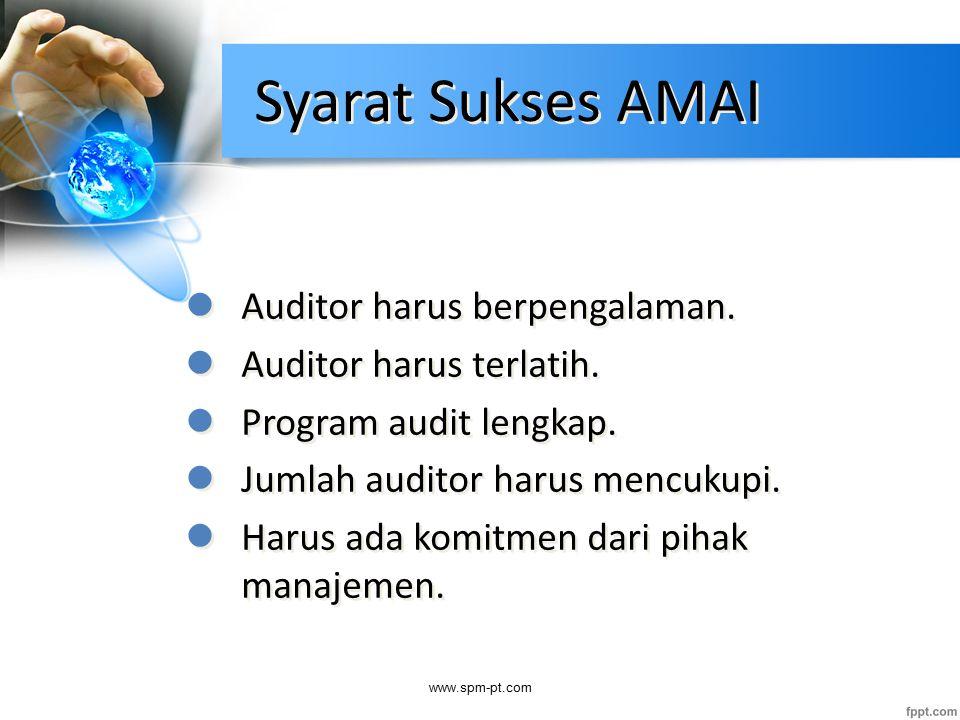 Syarat Sukses AMAI Auditor harus berpengalaman. Auditor harus terlatih. Program audit lengkap. Jumlah auditor harus mencukupi. Harus ada komitmen dari