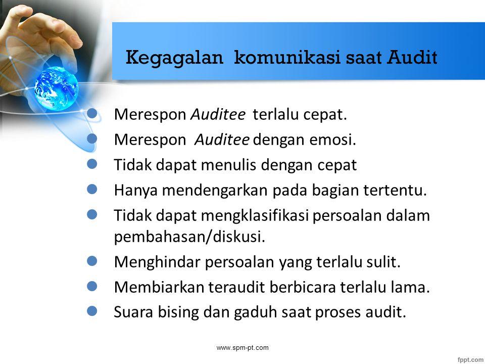 Kegagalan komunikasi saat Audit Merespon Auditee terlalu cepat. Merespon Auditee dengan emosi. Tidak dapat menulis dengan cepat Hanya mendengarkan pad