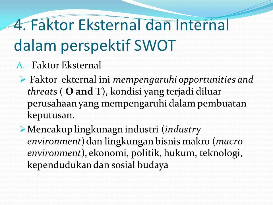 4. Faktor Eksternal dan Internal dalam perspektif SWOT A. Faktor Eksternal  Faktor ekternal ini mempengaruhi opportunities and threats ( O and T), ko