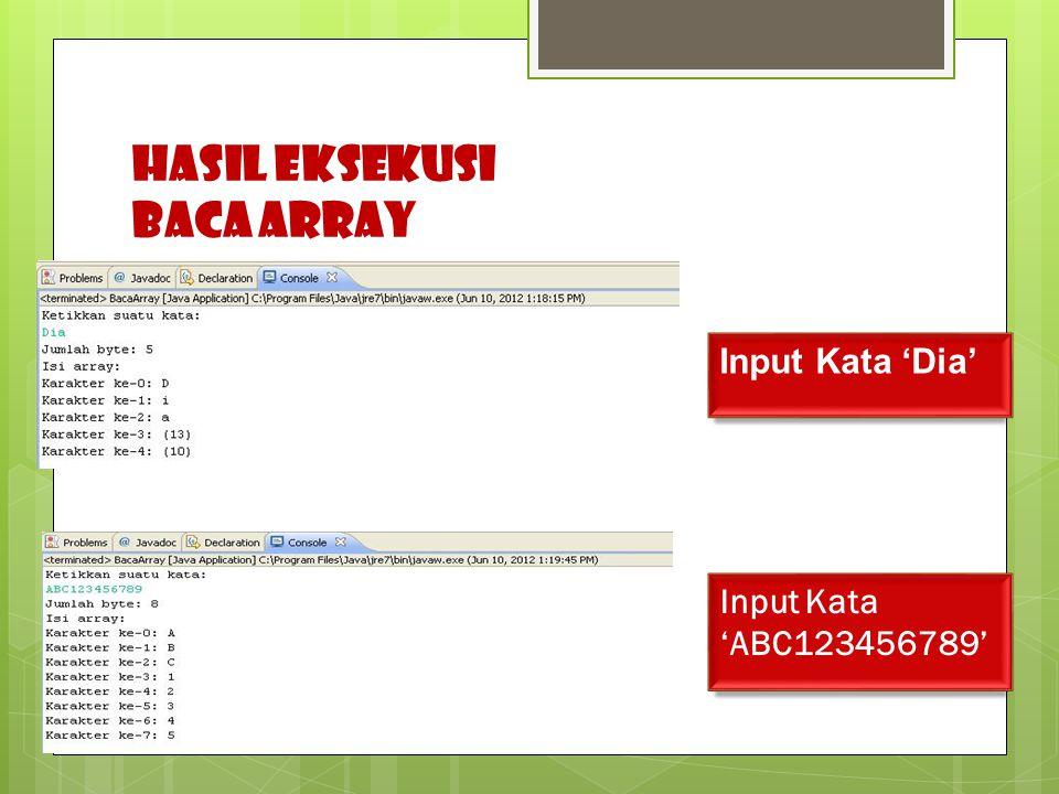 HASIL EKSEKUSI Baca ARRAY Input Kata 'ABC123456789' Input Kata 'Dia'