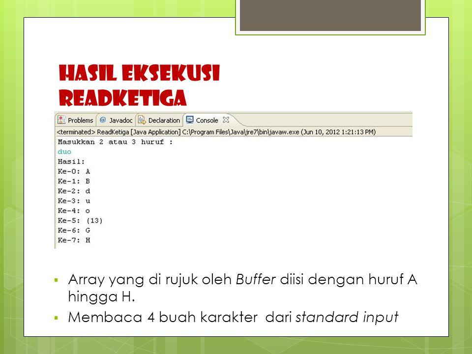 HASIL EKSEKUSI READKETIGA  Array yang di rujuk oleh Buffer diisi dengan huruf A hingga H.  Membaca 4 buah karakter dari standard input