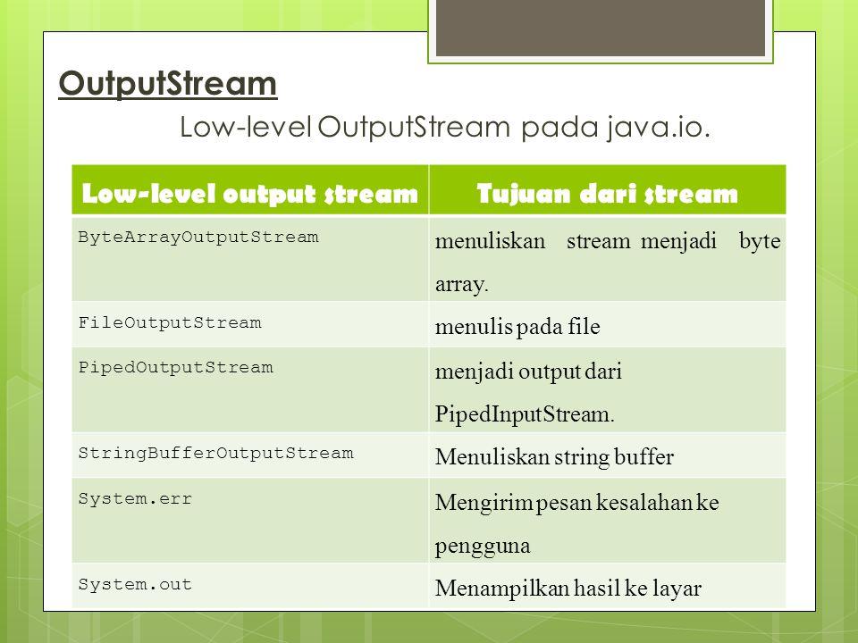 OutputStream Low-level OutputStream pada java.io. Low-level output streamTujuan dari stream ByteArrayOutputStream menuliskan stream menjadi byte array