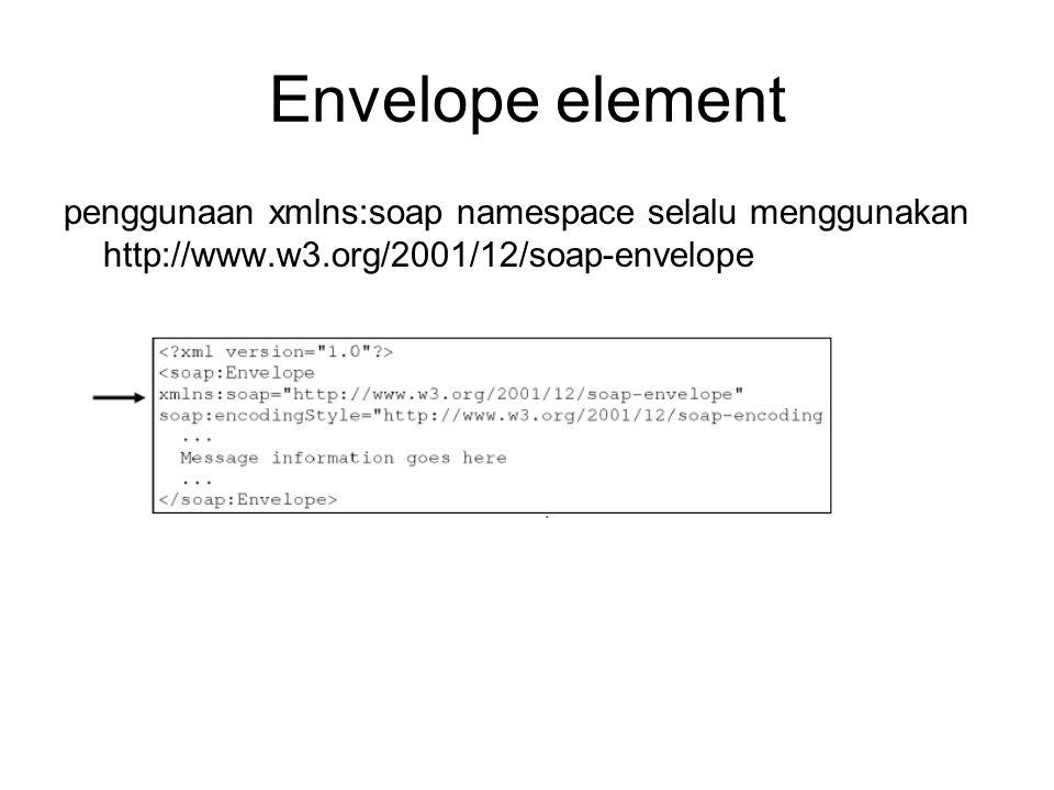 Envelope element penggunaan xmlns:soap namespace selalu menggunakan http://www.w3.org/2001/12/soap-envelope