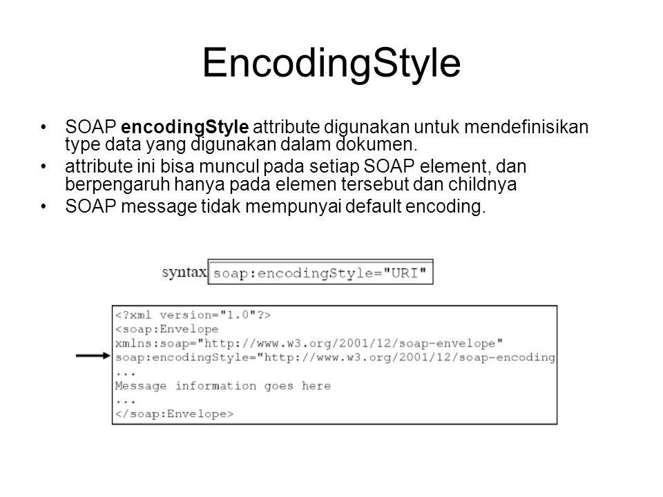 EncodingStyle SOAP encodingStyle attribute digunakan untuk mendefinisikan type data yang digunakan dalam dokumen. attribute ini bisa muncul pada setia