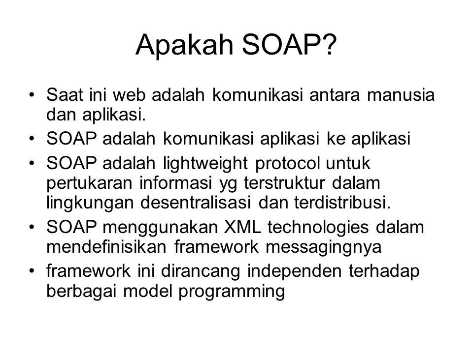 Apakah SOAP? Saat ini web adalah komunikasi antara manusia dan aplikasi. SOAP adalah komunikasi aplikasi ke aplikasi SOAP adalah lightweight protocol