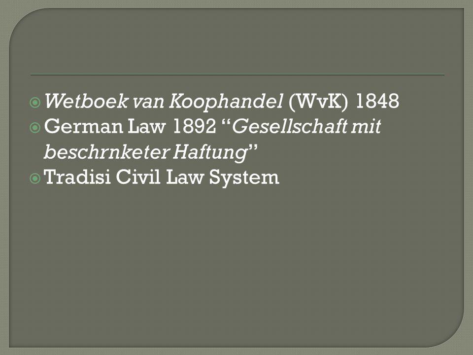" Wetboek van Koophandel (WvK) 1848  German Law 1892 ""Gesellschaft mit beschrnketer Haftung""  Tradisi Civil Law System"