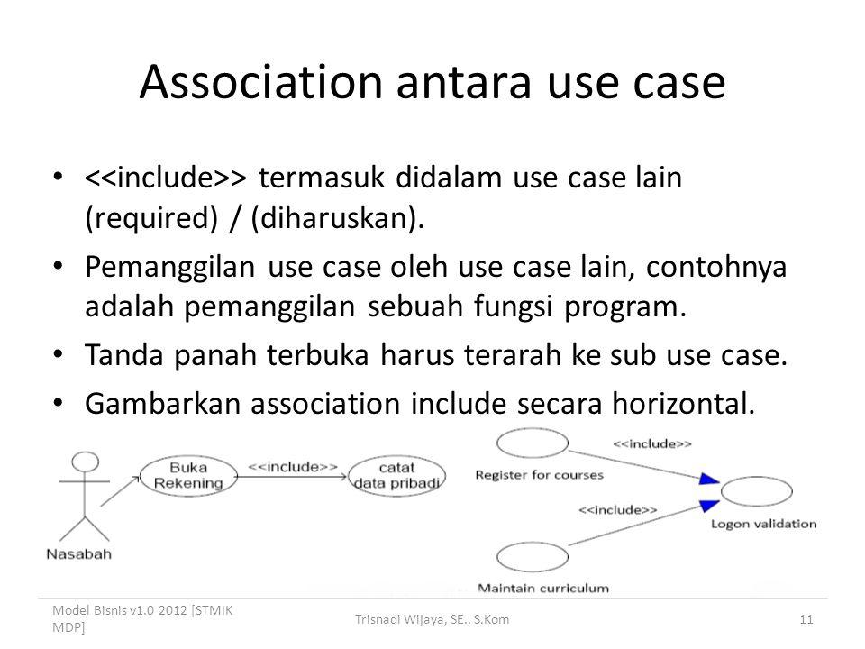 Association antara use case > termasuk didalam use case lain (required) / (diharuskan).