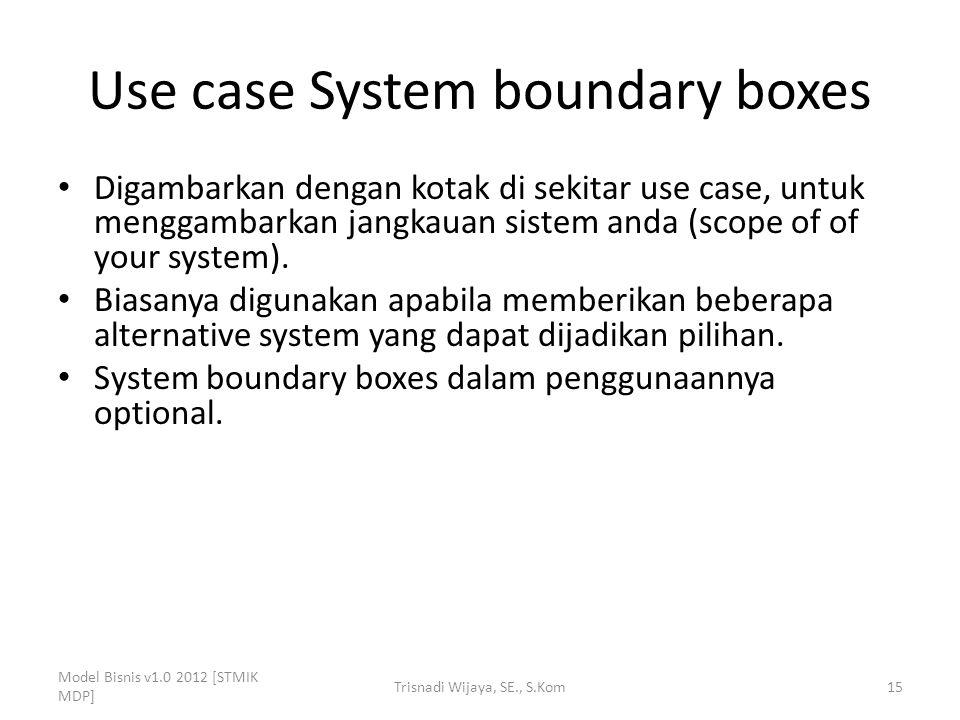 Use case System boundary boxes Digambarkan dengan kotak di sekitar use case, untuk menggambarkan jangkauan sistem anda (scope of of your system). Bias