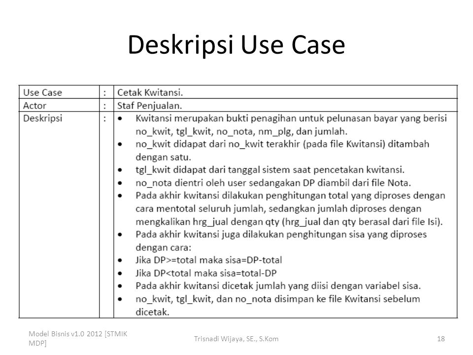 Deskripsi Use Case Model Bisnis v1.0 2012 [STMIK MDP] Trisnadi Wijaya, SE., S.Kom18