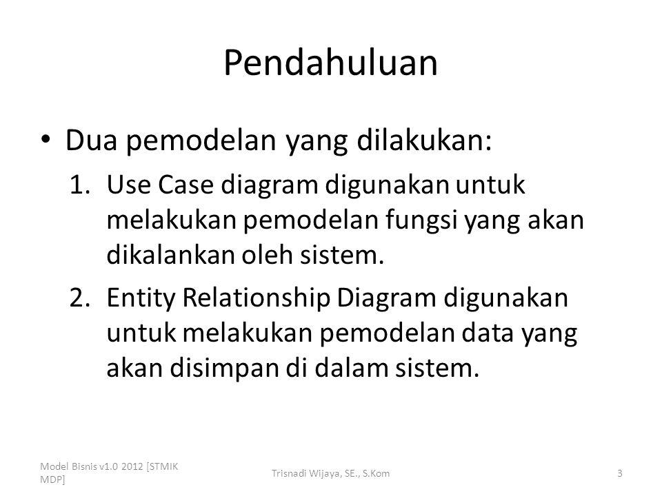 Pendahuluan Dua pemodelan yang dilakukan: 1.Use Case diagram digunakan untuk melakukan pemodelan fungsi yang akan dikalankan oleh sistem.